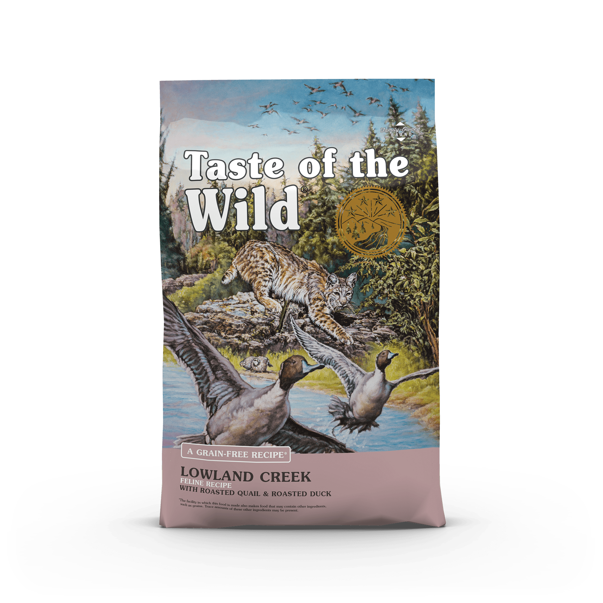 Lowland Creek Feline Recipe with Roasted Quail & Roasted Duck bag front