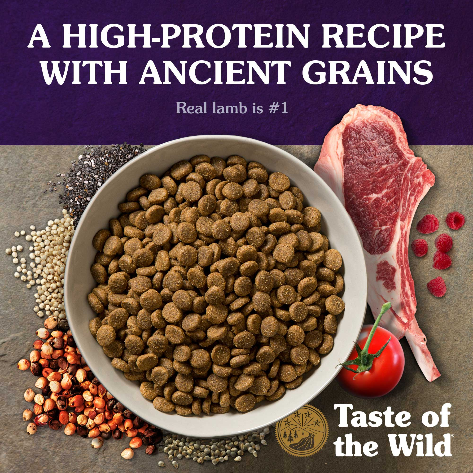 A high-protein recipe with ancient grains. Real lamb is #1.