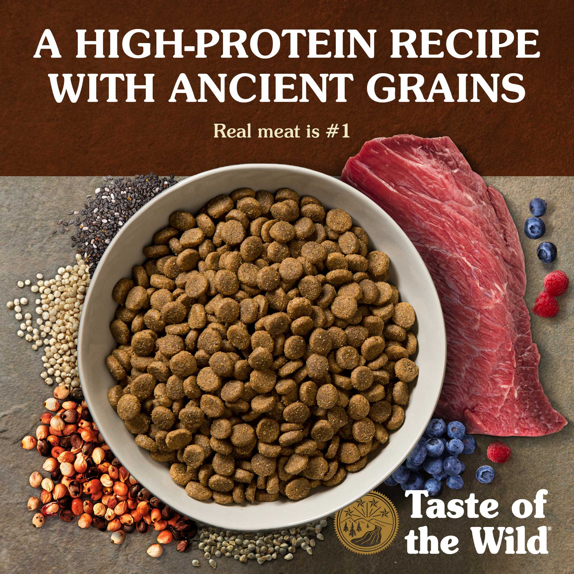 A high-protein recipe with ancient grains. Real meat is #1.