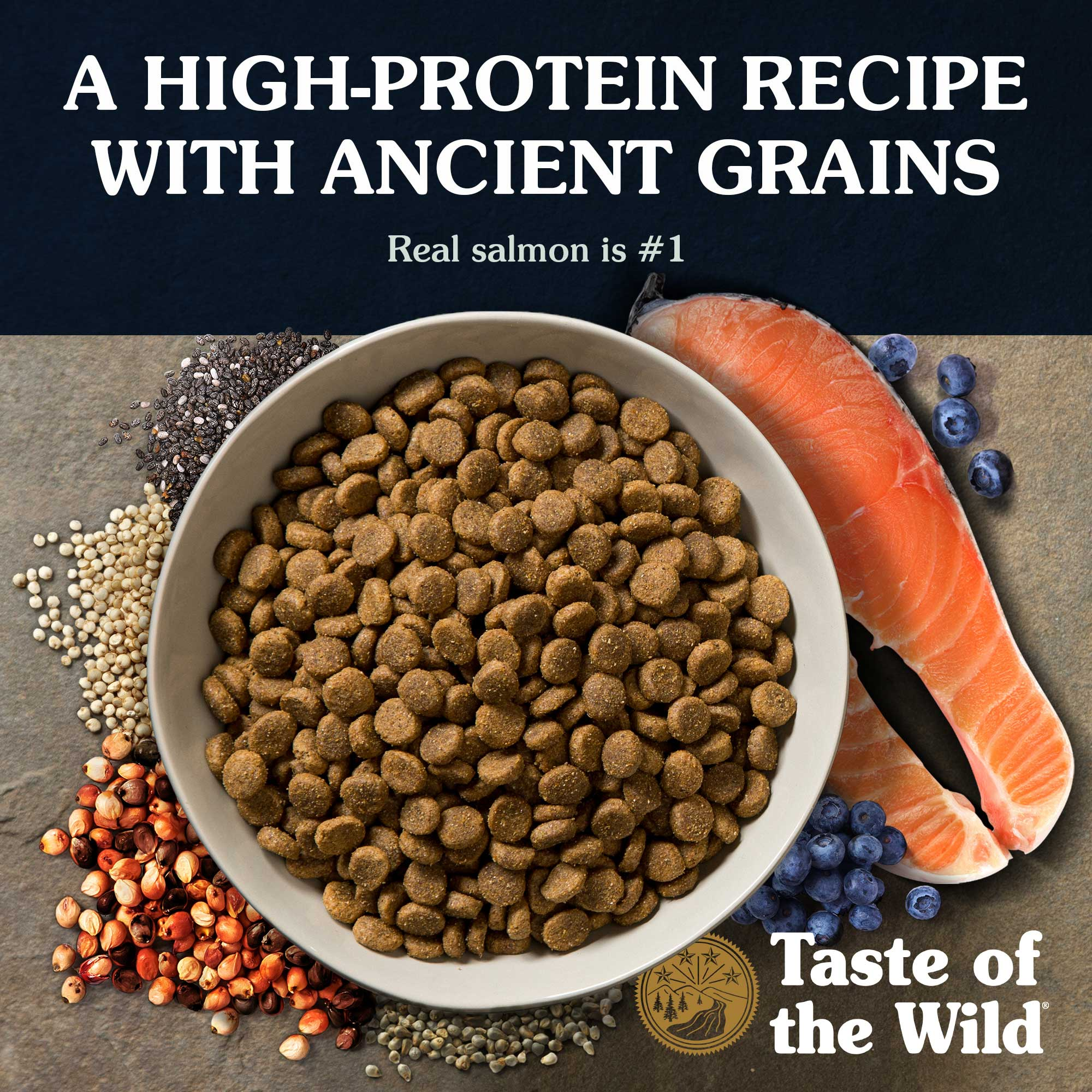A high-protein recipe with ancient grains. Real salmon is #1.