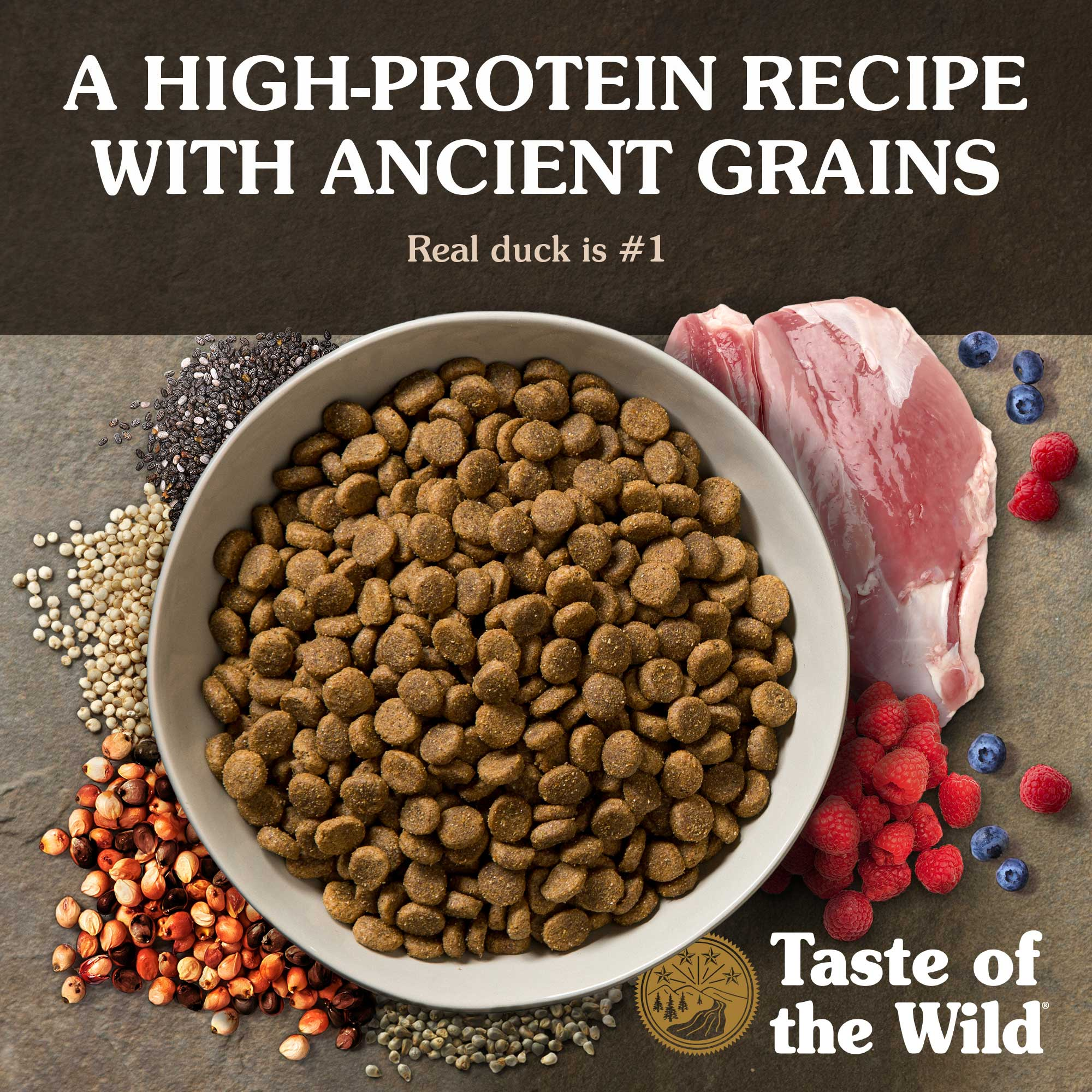 A high-protein recipe with ancient grains. Real duck is #1.