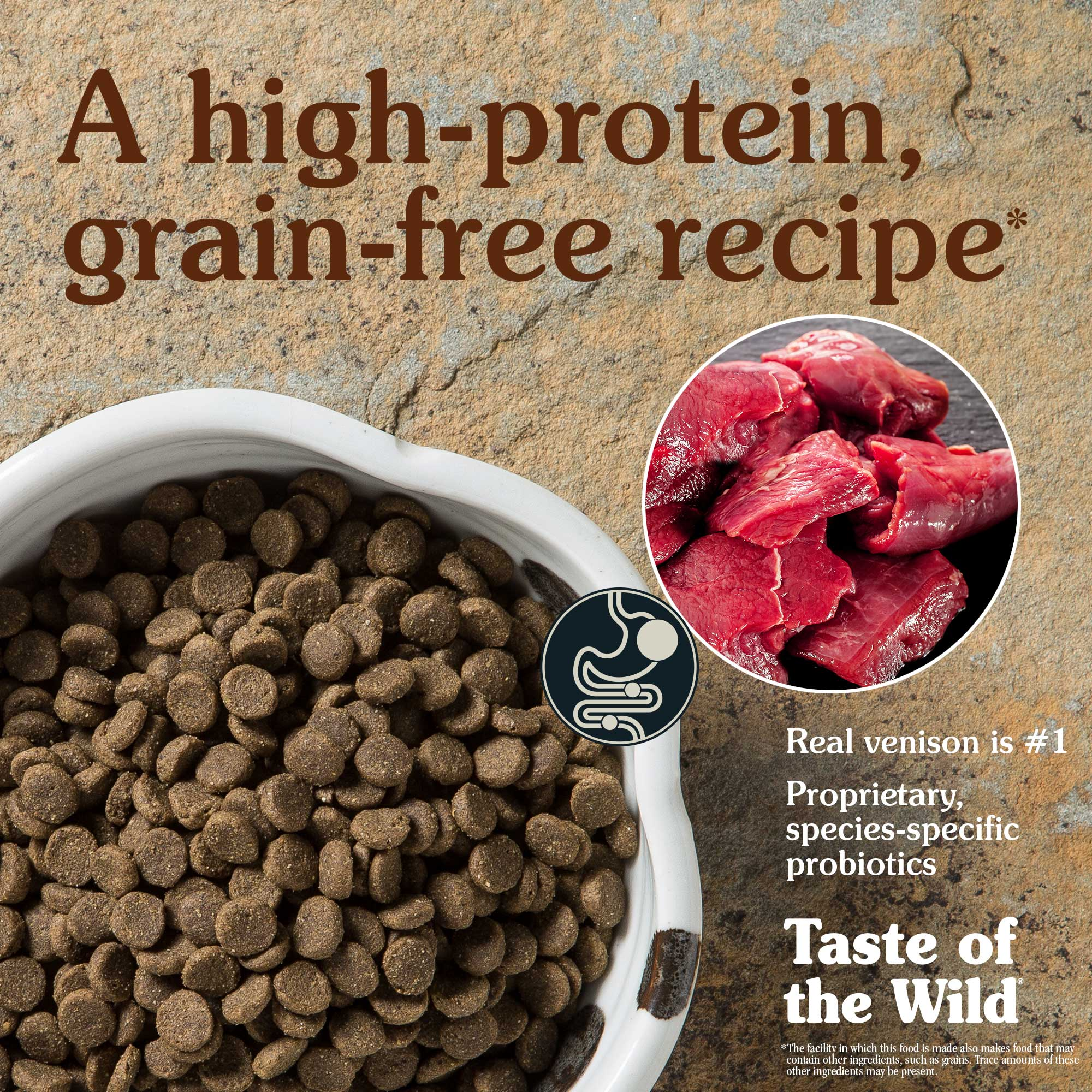 A high-protein, grain-free recipe. Real venison is #1.
