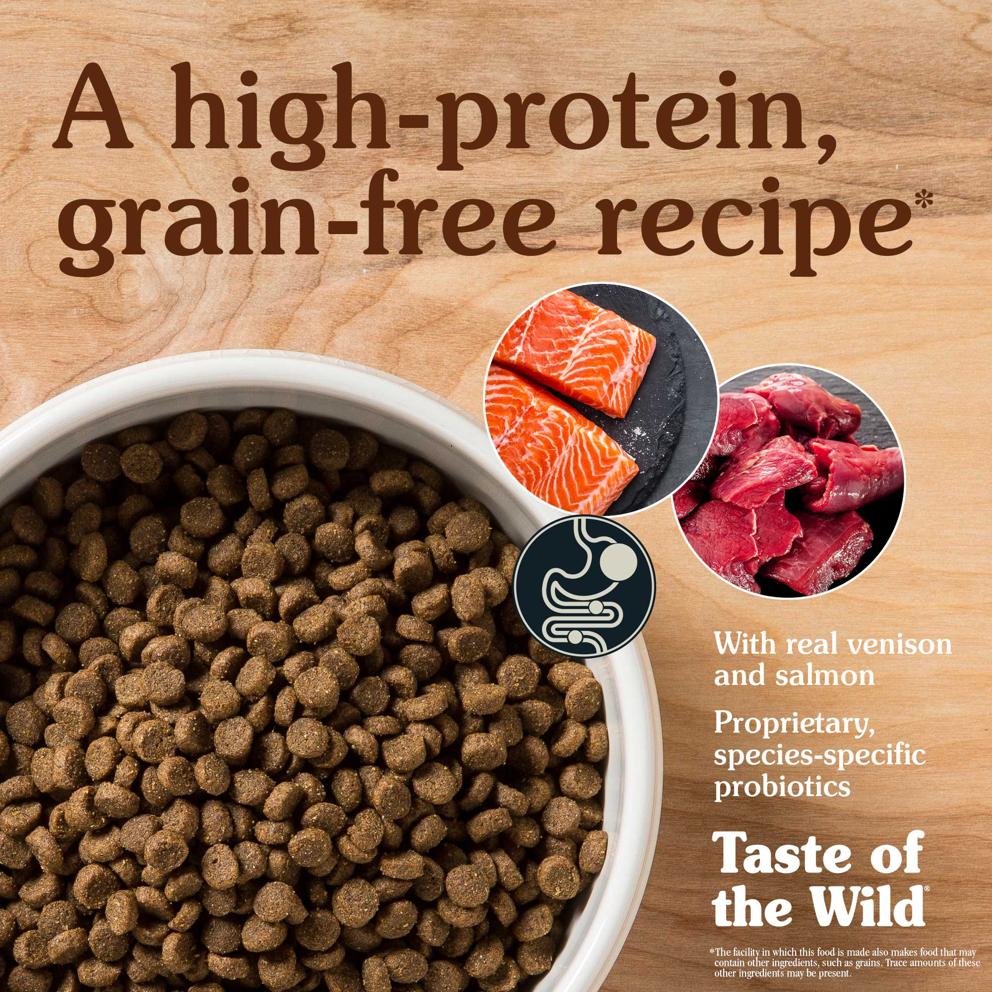 A high-protein, grain-free recipe. With real venison and salmon.