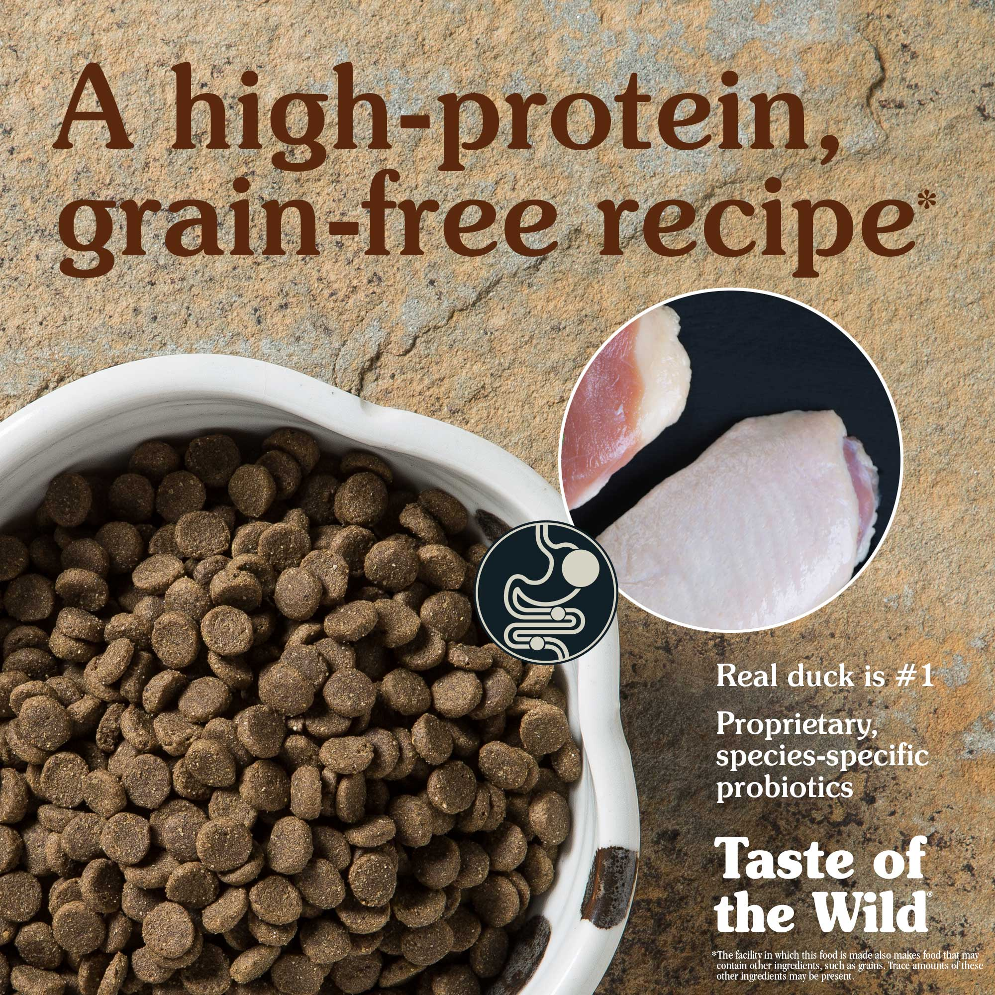 A high-protein, grain-free recipe. Real duck is #1.