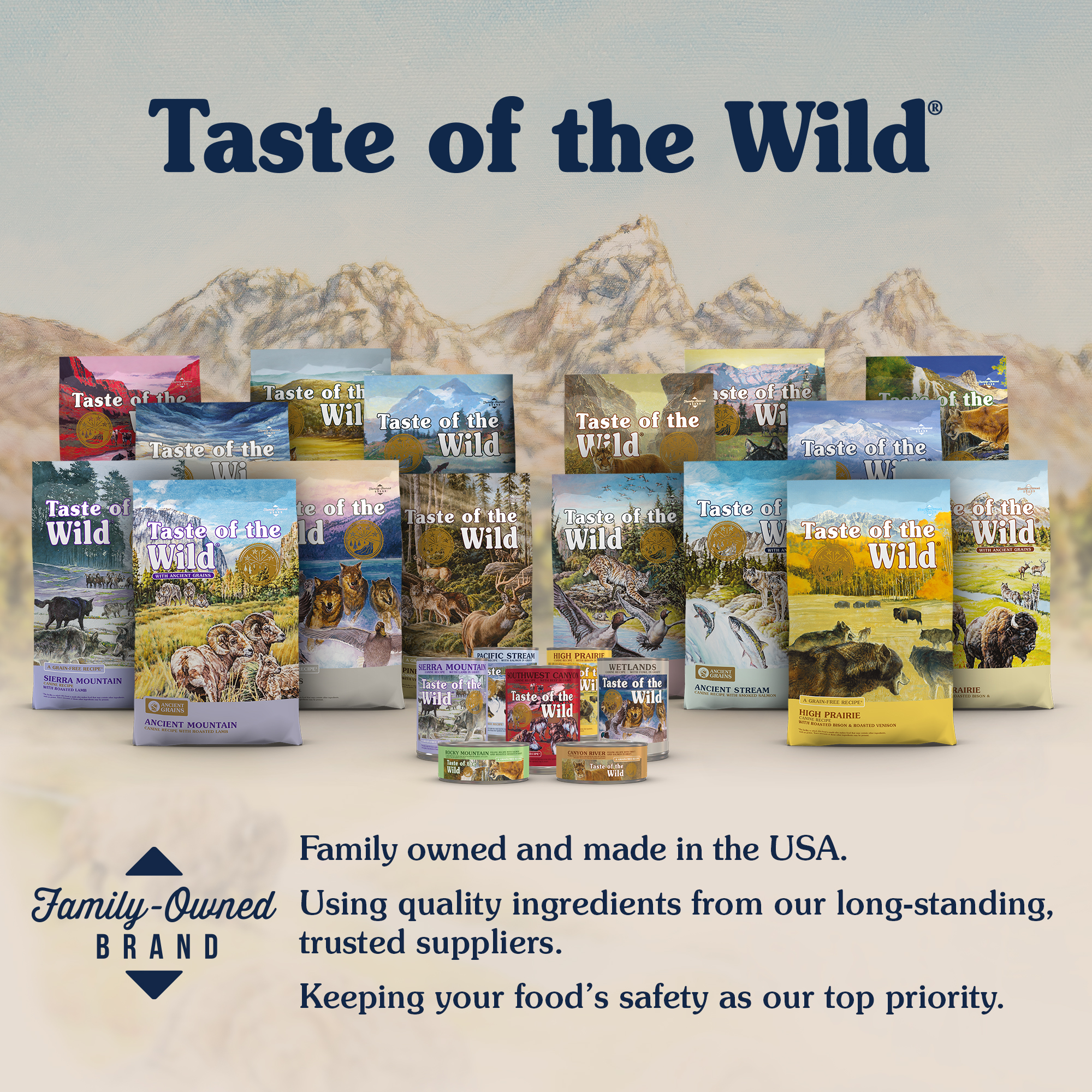 Bags and Cans of Taste of the Wild Pet Food   Taste of the Wild