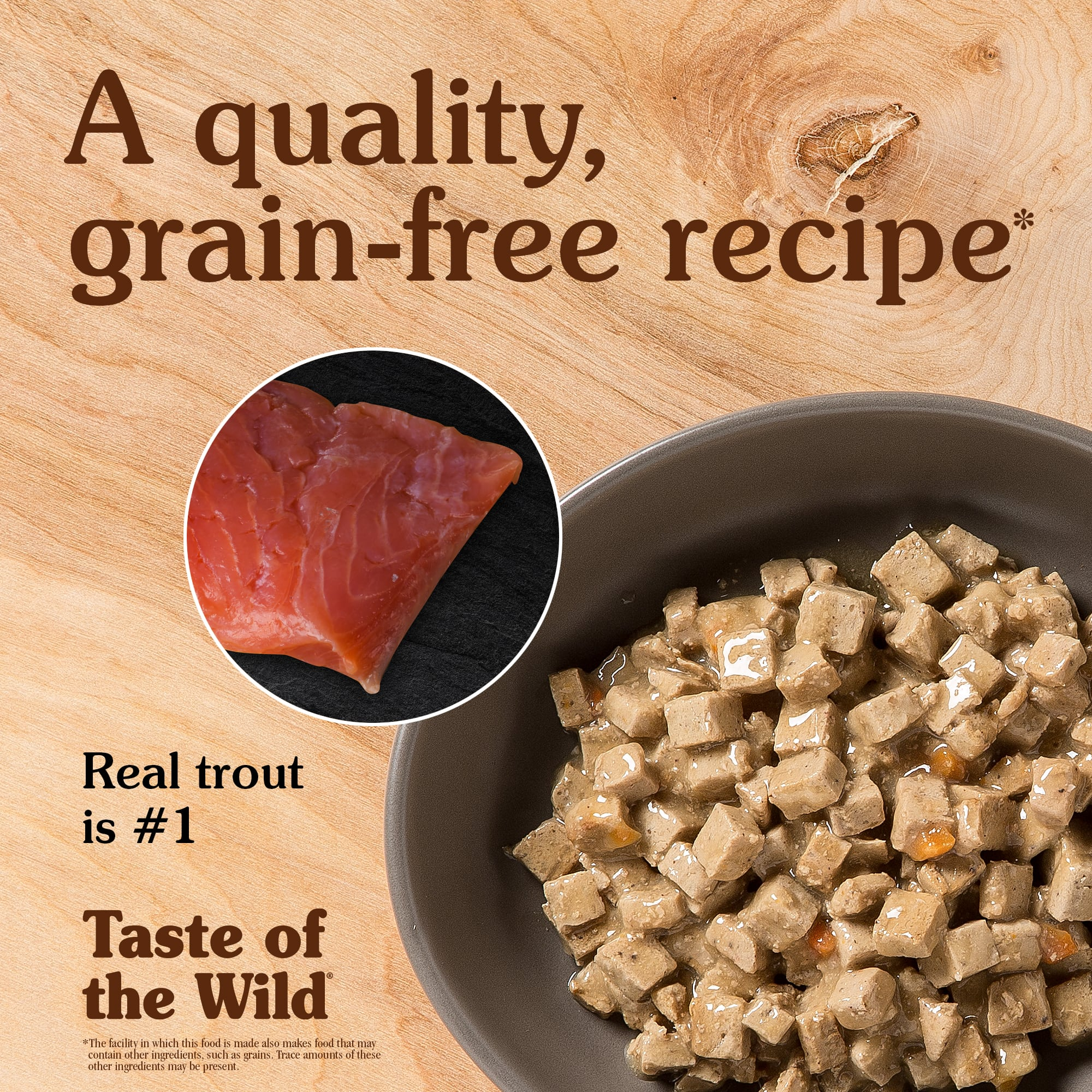 Canyon River Feline Formula with Trout and Salmon in Gravy in a grey bowl   Taste of the Wild
